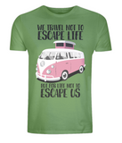 "EP01 Eco and Organic light green T-Shirt with the quote ""We travel not to escape life, but for life not to escape us"" and a classic VW camper van in pink"