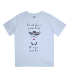 "EPJ01 ""It's not where you're from, it's wear your hat"" Organic Eco Children's T-shirt Light Blue"