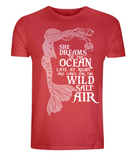 "EP01 Organic and Eco Combed Cotton Unisex red T-Shirt contains the mermaid quote ""She Dreams of the Ocean late at night and Longs for the Wild Salt Air"""