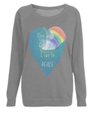 "EP66 Eco and Organic Dark Heather Raglan Sweatshirt featuring a watercolour heart including an ocean wave and a rainbow, and the inspirational quote ""One world, One Life, Live in Peace"""