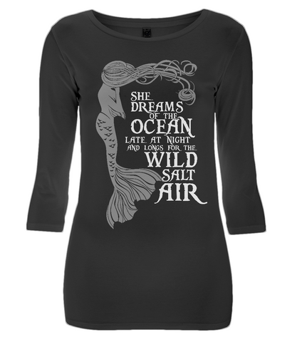 EP07 Women's 3/4 Sleeve Stretch T-Shirt MM006 - She Dreams of the Ocean