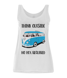 "EP44 Eco Organic Women's Tencel Blend White Vest contains the quote ""Think Outside. No Box Required"" and features a classic VW camper van in turquoise."