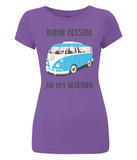 "EP04 Organic and Eco Women's Slim-Fit purple T-Shirt contains the thoughtful quote ""Think Outside, No Box Required"" and features a classic VW camper van in turquoise blue."