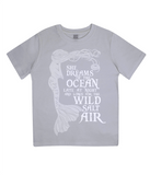 "EPJ01 Organic Combed Cotton Children's T-Shirt in Melange Grey, contains the quote  ""She Dreams of the Ocean late at night and Longs for the Wild Salt Air"" and has an image of a mermaid"