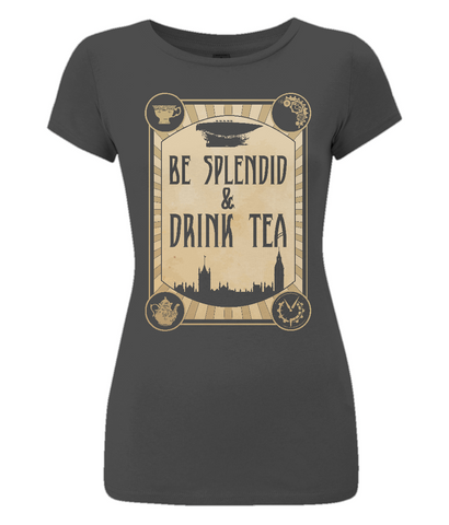 EP04 Women's Slim-Fit black T-Shirt S009d - Be Splendid and Drink Tea