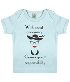 """With great grooming comes great responsibility"" Organic Eco Baby T-Shirt in white in Soft Blue"