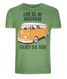 "EP01 Organic Eco Unisex light green T-Shirt contains the quote ""Life is an adventure. Enjoy the Ride"" and features a classic VW camper van in orange"