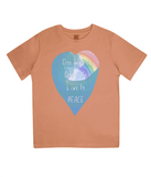 "EPJ01 Organic Combed Cotton Children's T-Shirt in Orange, contains the quote  ""One World, One life, Live in Peace"""