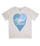"EPJ01 Organic Combed Cotton Children's T-Shirt in Ecru, contains the quote  ""Mermaid at Heart"""