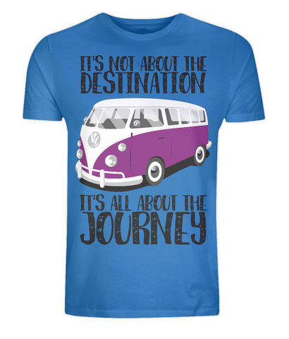"EP01 Organic Eco Unisex bright blue T-Shirt contains the quote ""It's not about the destination. It's all about the Journey"""