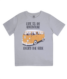 "EPJ01 Organic Combed Cotton Children's T-Shirt in Melange Grey, contains the quote  ""Life is an adventure. Enjoy the Ride"""