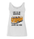 "EP44 Organic Eco Women's Tencel Blend Vest contains the quote ""Life is an adventure. Enjoy the Ride"" and features a classic VW camper van in orange."