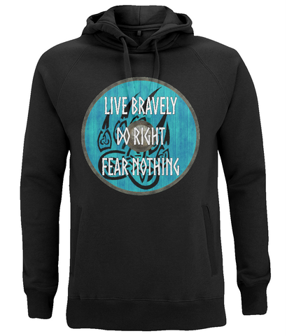"EP60P Organic Combed Cotton, Unisex Black Hoodie with a quote set on a Viking shield ""Live Bravely - Do Right - Fear Nothing"""
