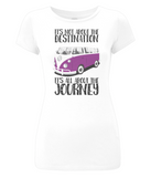 "EP04 Eco and Organic, women's slim-fit white T-Shirt with quote ""It's not about the destination. It's all about the Journey"" and a classic VW camper van image in purple."