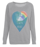 "EP66 Eco and Organic Light HeatherRaglan Sweatshirt featuring a watercolour heart including an ocean wave and a rainbow, and the inspirational quote ""One world, One Life, Live in Peace"""