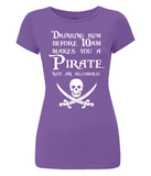 "EP04 Organic, Eco, Women's Slim Fit, purple, pirate T-Shirt with the humorous Pirate quote ""Drinking Rum before 10am make you a Pirate Not an Alcoholic"""