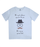 "EPJ01 ""It's not where you're from, it's wear your hat"" Organic Children's T-shirt Light Blue"