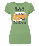 "EP04 Organic Eco Women's Slim-Fit light green T-Shirt contains the quote ""Life is an adventure. Enjoy the Ride""and features a classic VW camper van in orange"