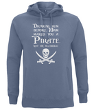 "EP60P Organic Combed Cotton Unisex Faded Denim Hoodie features the famous Calico Jack skull and crossed cutlasses along with the humorous Pirate quote ""Drinking Rum before 10am makes you a Pirate not an Alcoholic"""
