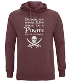 "EP60P Organic Combed Cotton Unisex Claret Red Hoodie features the famous Calico Jack skull and crossed cutlasses along with the humorous Pirate quote ""Drinking Rum before 10am makes you a Pirate not an Alcoholic"""