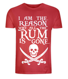 "EP01 Organic Combed Cotton Unisex red T-Shirt with the famous Calico Jack skull and crossed cutlas and the humorous Pirate quote ""I am the Reason why all the Rum is Gone"""