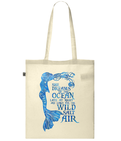 Organic Eco Tote Bag - She Dreams of the Ocean