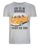 "EP01 Organic Eco Unisex light grey T-Shirt contains the quote ""Life is an adventure. Enjoy the Ride"" and features a classic VW camper van in orange"