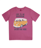 "EPJ01 Organic Combed Cotton Children's T-Shirt in Hot Pink, contains the quote  ""Life is an adventure. Enjoy the Ride"""