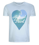 "EP01 Eco and Organic unisex light blue T-Shirt with a watercolour ocean wave and the quote ""Mermaid at Heart"" enclosed a heart"
