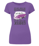 "EP04 Eco and Organic, women's slim-fit purple T-Shirt with quote ""It's not about the destination. It's all about the Journey"" and a classic VW camper van image in purple."