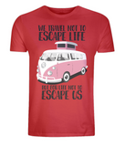 "EP01 Eco and Organic red T-Shirt with the quote ""We travel not to escape life, but for life not to escape us"" and a classic VW camper van in pinkv"