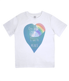 "EPJ01 Organic Combed Cotton Children's T-Shirt in White, contains the quote  ""One World, One life, Live in Peace"""