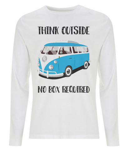 "EP01L Eco Men's long sleeve white T-Shirt containing the thoughtful quote ""Think Outside, No Box Required"" featuring a classic VW camper van in turquoise blue."