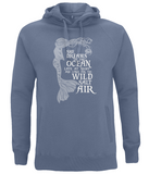 "EP60P Organic and Eco Combed Cotton Unisex Faded Denim Hoodie contains the emotive and mermaid inspired quote ""She Dreams of the Ocean late at night and Longs for the Wild Salt Air"""