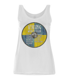"EP44 Organic Eco Women's Tencel Blend Viking Vest in White contains an amusing quote set on a Viking shield  ""Viking World Tour"""