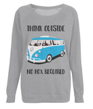 "EP66 Eco Organic Light Heather Raglan Sweatshirt contains the quote ""Think Outside. No Box Required"" and features a classic VW camper van in turquoise."