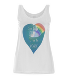 "EP44 Eco and Organic Women's Tencel Blend White Vest features a watercolour heart with an ocean wave and a rainbow, and the inspirational quote ""One world, One Life, Live in Peace""."