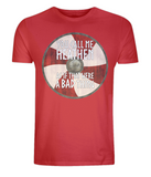 "EP01 Organic, Combed Cotton, Eco, red T-Shirt, contains an emotive quote set on a Viking shield ""You Call Me Heathen As If That Were a Bad Thing"""