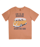 "EPJ01 Organic Combed Cotton Children's T-Shirt in Orange, contains the quote  ""Life is an adventure. Enjoy the Ride"""