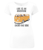 "EP04 Organic Eco Women's Slim-Fit light white T-Shirt contains the quote ""Life is an adventure. Enjoy the Ride""and features a classic VW camper van in orange"