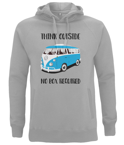 "EP60P Eco Organic Unisex Hoodie contains the quote ""Think Outside. No Box Required"" and features a classic VW camper van in turquoise."