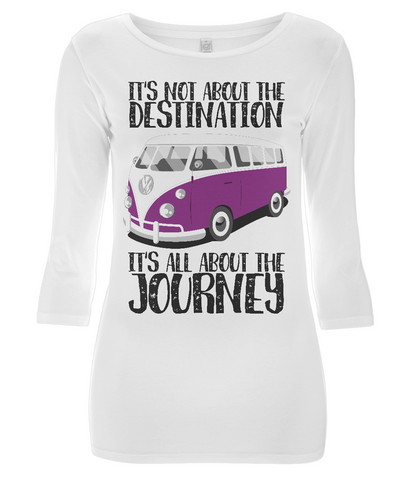 "EP07 Eco and Organic Women's 3/4 Sleeve white T-Shirt contains the inspirational quote ""It's not about the destination. It's all about the Journey"""