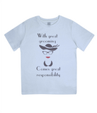 "EPJ01 ""With great grooming comes great responsibility"" Organic Eco Children's T-Shirt Light Blue"