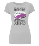 "EP04 Eco and Organic, women's slim-fit light grey T-Shirt with quote ""It's not about the destination. It's all about the Journey"" and a classic VW camper van image in purple."