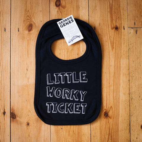 'Little Worky Ticket' Bib in Black