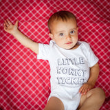 'Little Worky Ticket' Baby Bodysuit in White