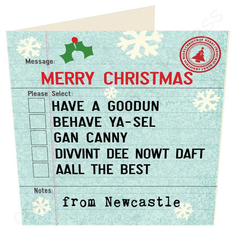 North East Options Christmas Geordie Card by Wotmalike
