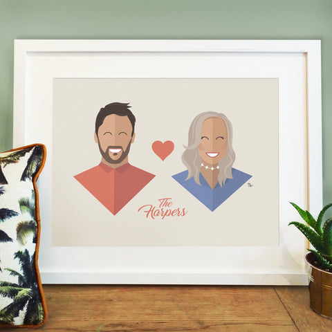 Personalised Couple Portrait Print