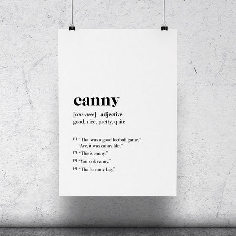 """Canny"" Geordie Dictionary Print"