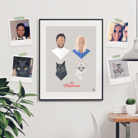 Personalised Family Portrait Print: Four of Us